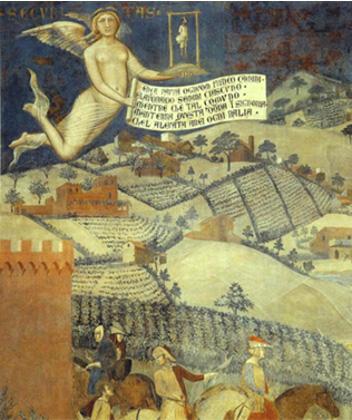 Ambrogio Lorenzetti, Effetti del buon governo in campagna/ Allegory of good government (1339).
